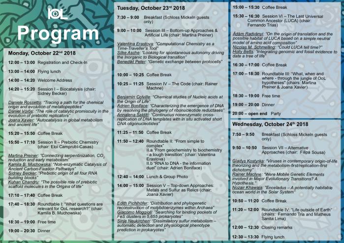 IOoL Program with timetable