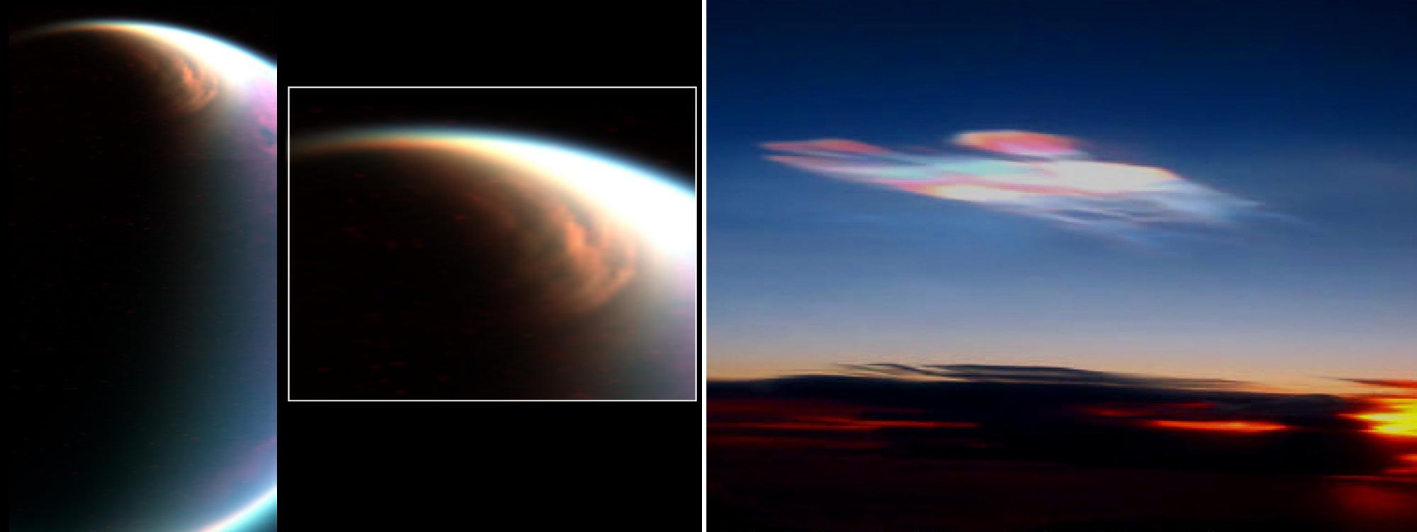 Polar clouds, made of methane, on Titan (left) compared with polar clouds on Earth (right), which are made of water or water ice.